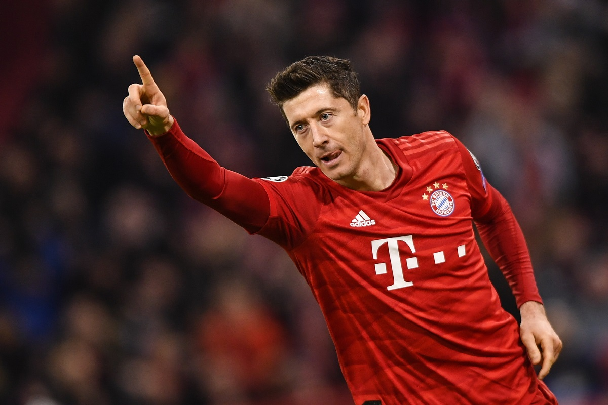 Robert Lewandowski celebrates after scoring for Bayern against Olympiakos at the Allianz Arena in Munich, Germany, on Wednesday.