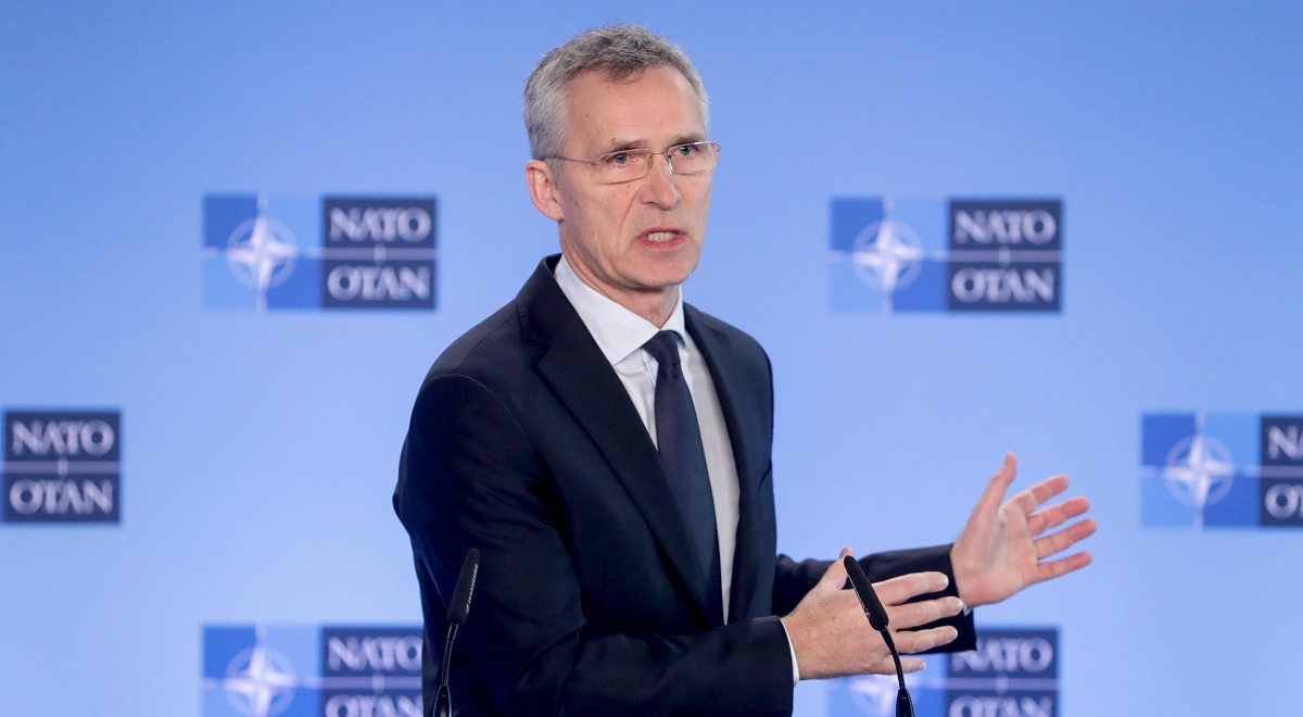 NATO Secretary General Jens Stoltenberg gives a press conference at the end of a North Atlantic Council meeting in Brussels, Belgium, 28 February 2020.
