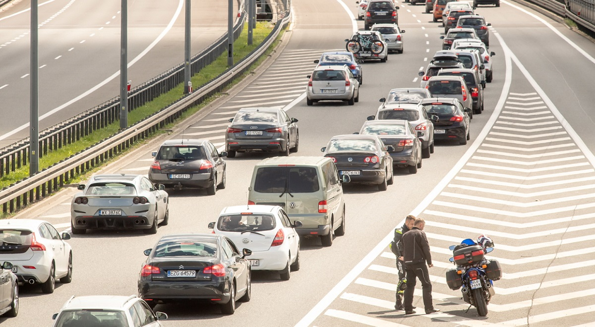 Polands Motorway A1 clogs with traffic as people head home after a long weekend.