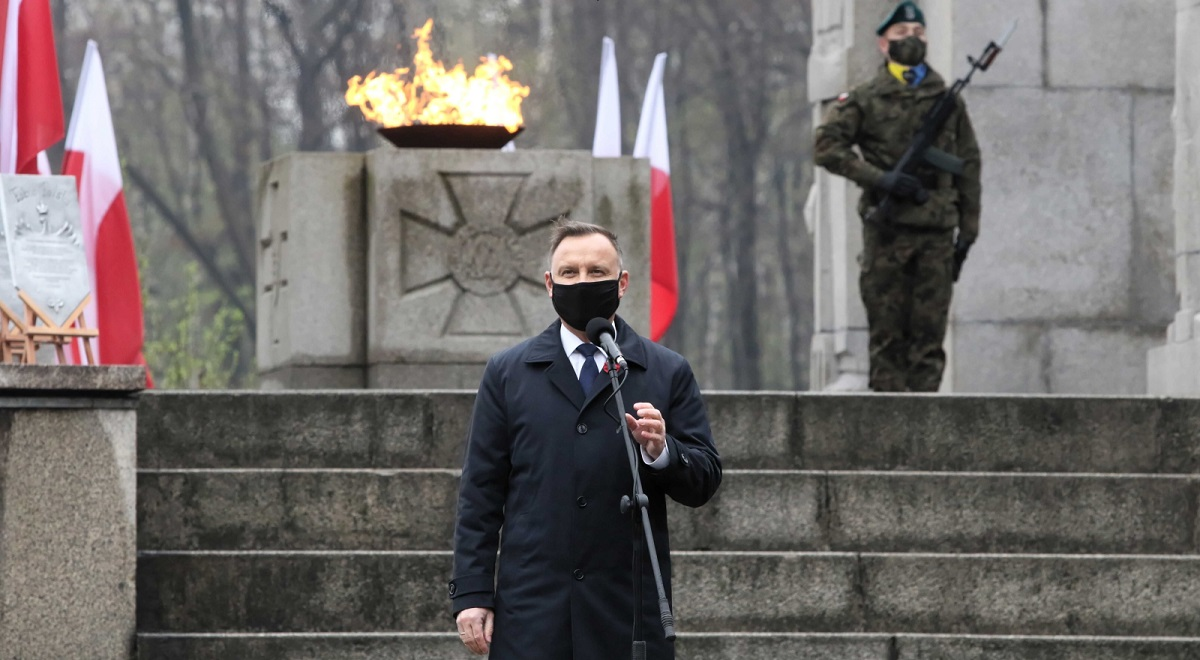 President Andrzej Duda speaks during ceremonies on Sunday to mark the 100th anniversary of the outbreak of the Third Silesian Uprising.
