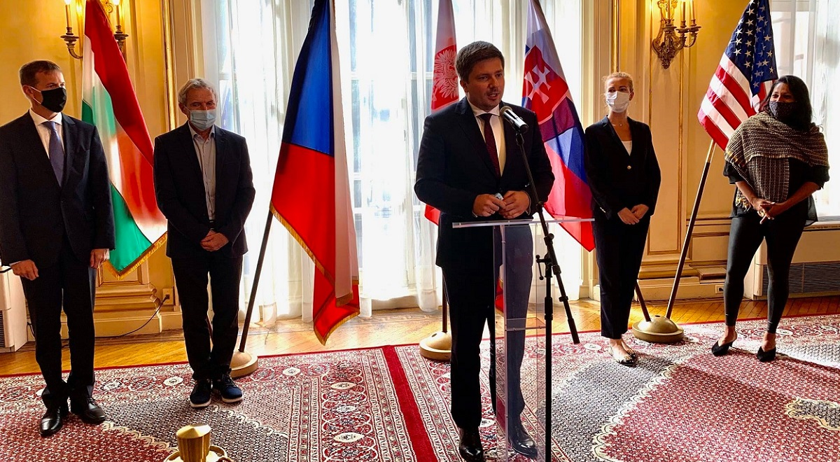 The Polish Consul General in New York, Adrian Kubicki, flanked by diplomats from Hungary, the Czech Republic and Slovakia, speaks at a meeting with New Yorks Commissioner for International Affairs Penny Abeywardena on October 1.