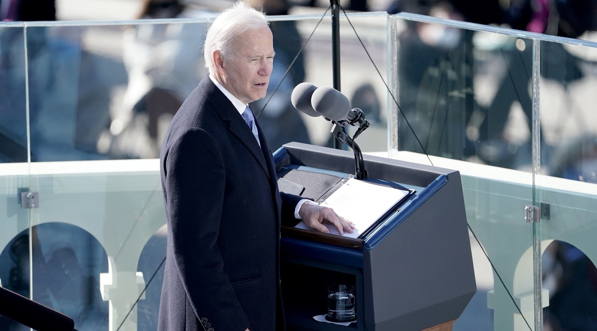 Joe Biden gives an inaugural address after being sworn in as U.S. president on Wednesday.