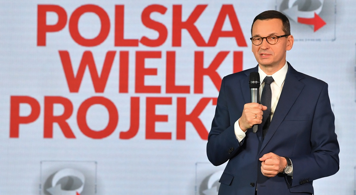 Polish Prime Minister Mateusz Morawiecki speaks at the Poland - the Great Project conference in Warsaw on Friday, Oct. 9, 2020.