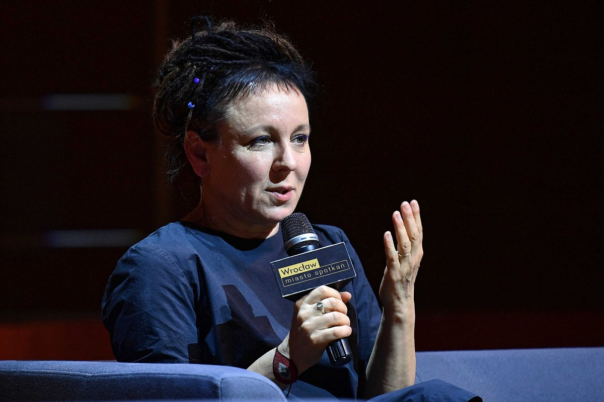 Nobel Prize-winning writer Olga Tokarczuk speaks at a meeting with readers in the southwestern Polish city of Wrocław on Sunday.