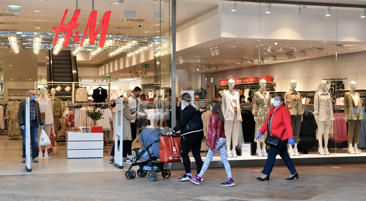 A shopping mall back in business after a coronavirus shutdown in the central Polish city of Łódź.