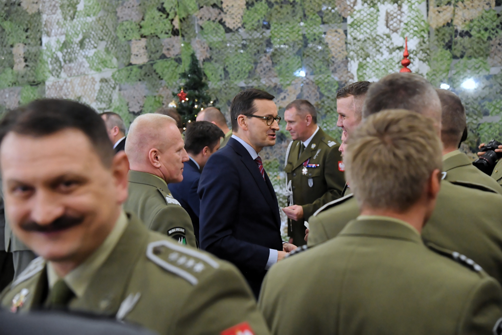 Polish Prime Minister Mateusz Morawiecki during a meeting with soldiers in Kraków.