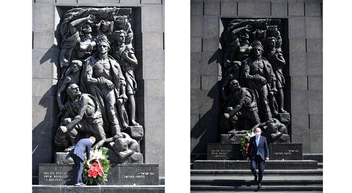Mateusz Szpytma, deputy head of Polands Institute of National Remembrance (IPN), pays tribute to the heroes of the 1943 Warsaw Ghetto Uprising on Friday.