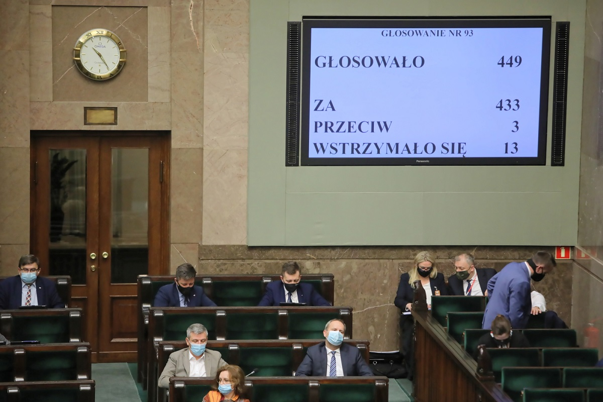 The lower house of Polands parliament, the Sejm, in session amid COVID-19 precautions in Warsaw on Thursday, Nov. 19, 2020.