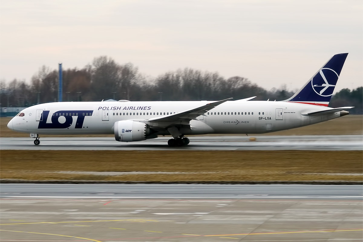 A Boeing 787-9 Dreamliner plane in LOT Polish Airlines livery. Photo: Anna Zvereva [CC BY-SA 2.0 (https:creativecommons.orglicensesby-sa2.0)]