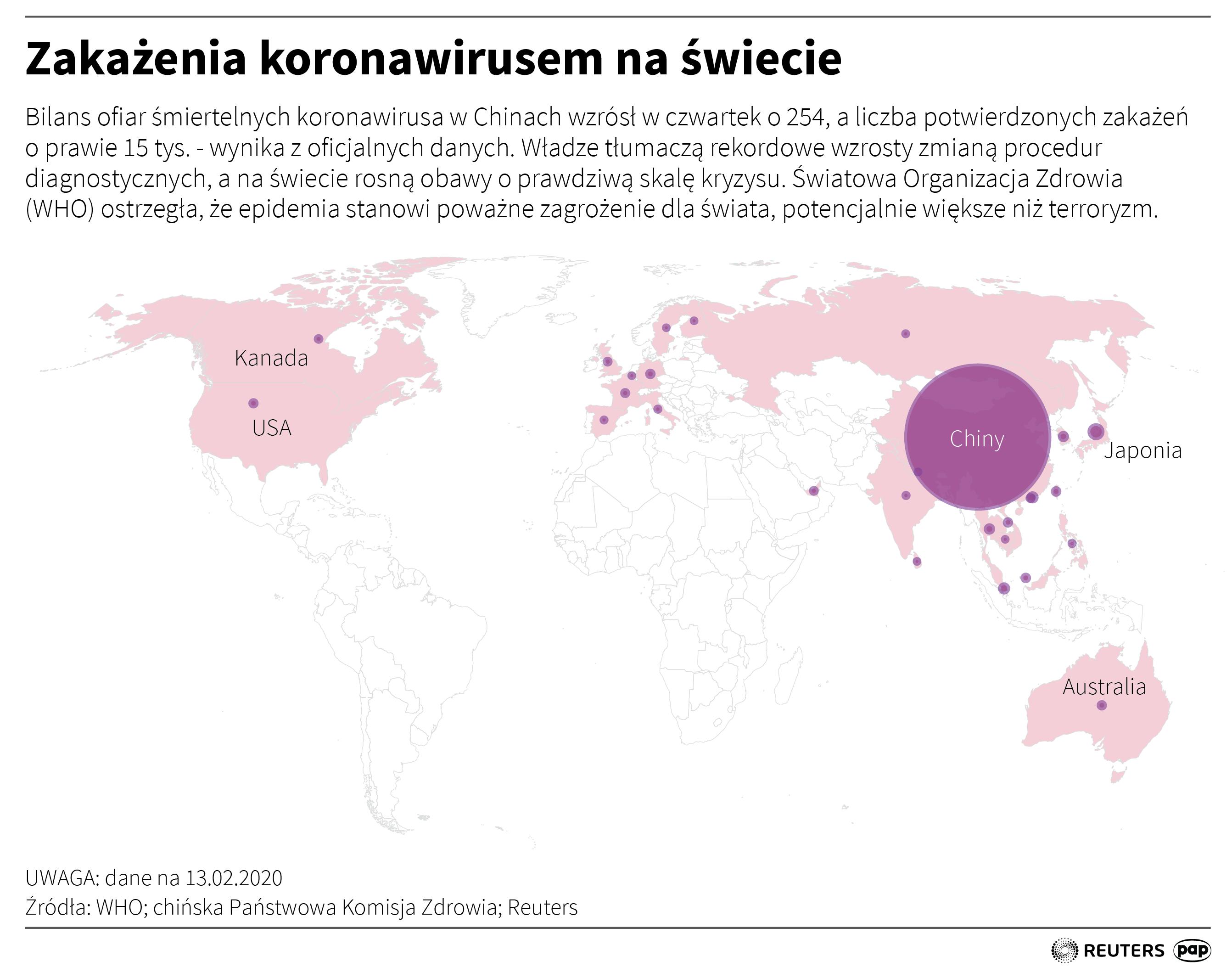 Śmiertelne przypadki koronawirusa na świecie (stan na 13 lutego). PAP / Adam Ziemienowicz
