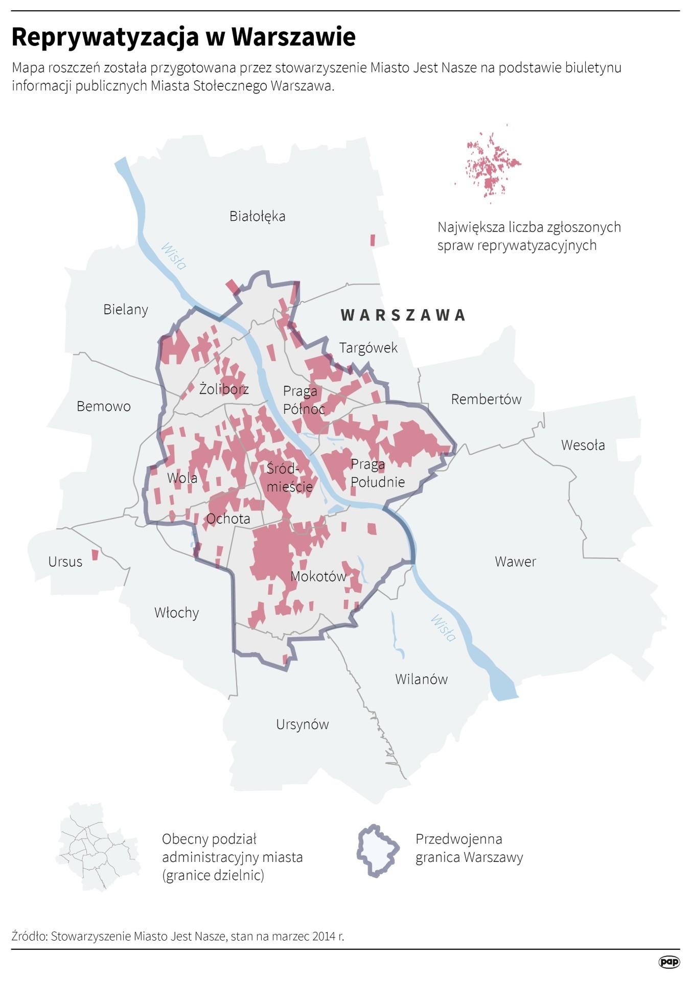 Mapa stołecznych reprywatyzowanych nieruchomości, przygotowana w 2017 roku przez Miasto Jest Nasze (opr. PAP)