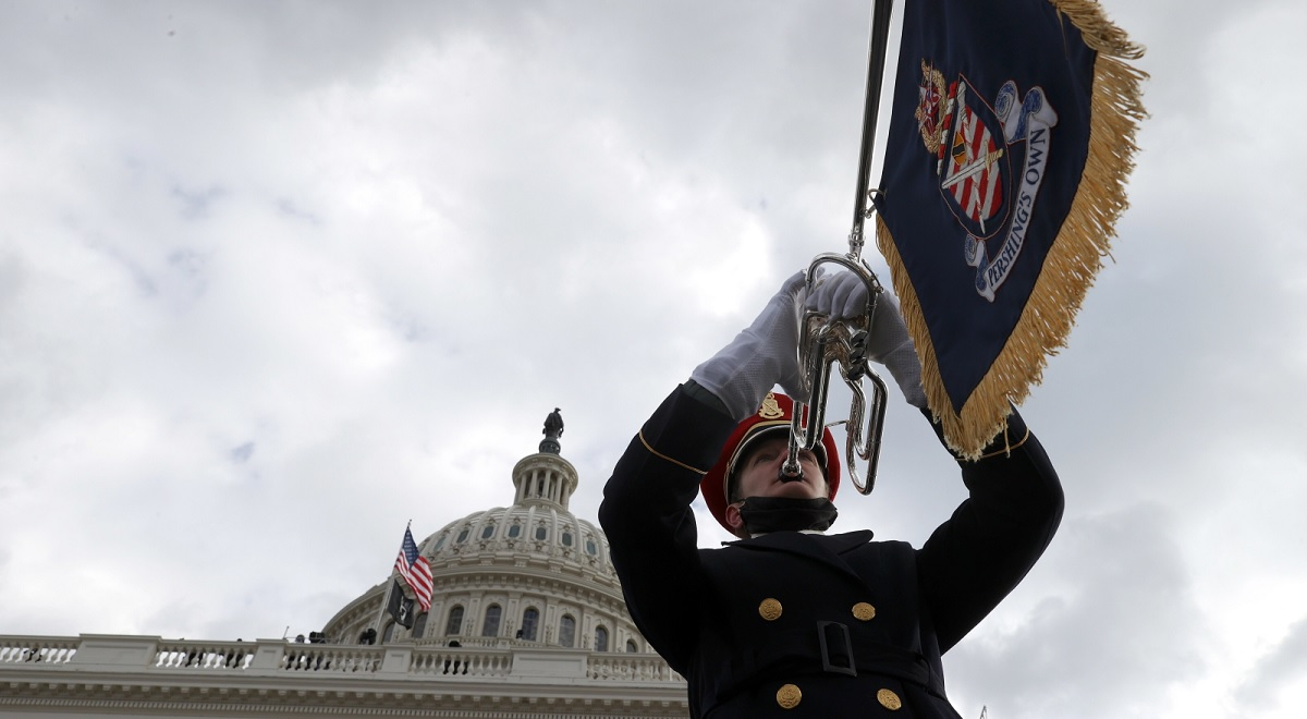 A member of the U.S. Army Band plays during the inauguration of Joe Biden as US President in Washington, DC, USA, 20 January 2021.