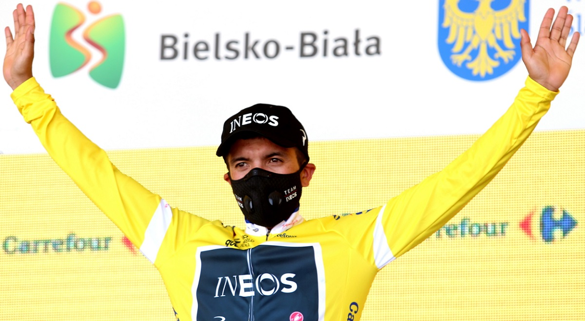 Ecuadors Richard Carapaz dons the race leaders yellow jersey after winning stage three of the 2020 Tour de Pologne.