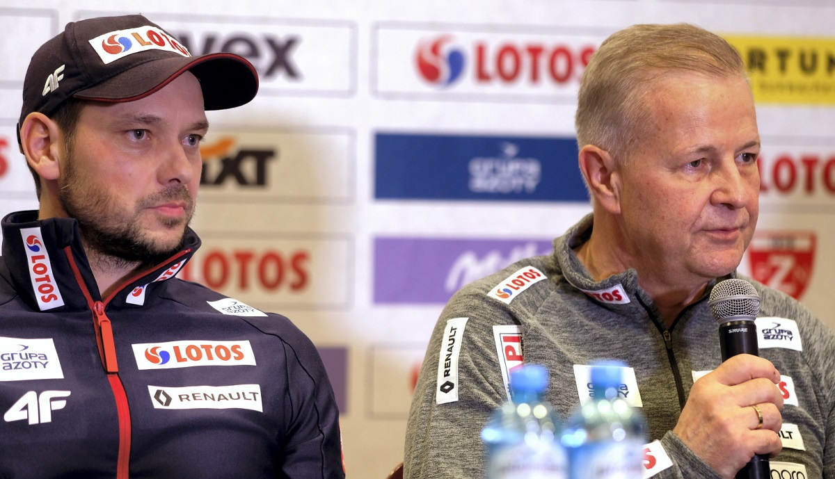Michal Doleal, head coach of the Polish mens ski-jumping team, and Apoloniusz Tajner, head of the Polish Ski Association (PZN), during a news conference in Wisła, southern Poland, on Thursday.