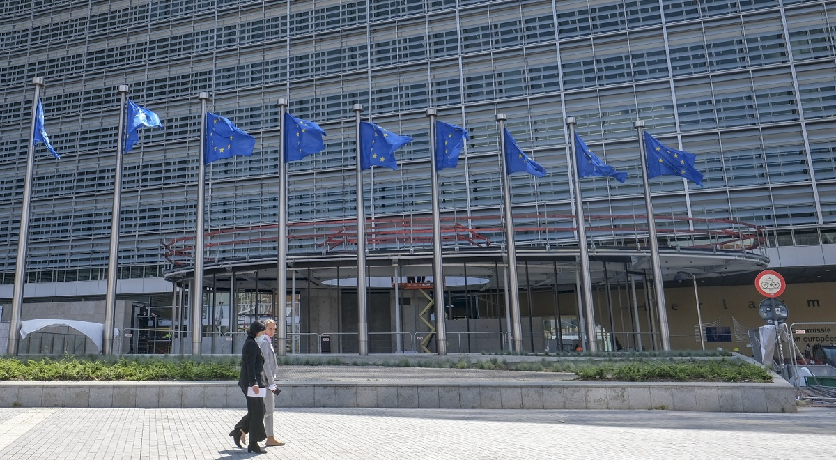 European flags flutter outside the European Commissions headquarters in Brussels, Belgium.