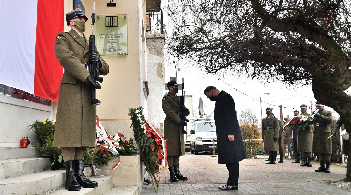 President Andrzej Duda on Monday lays a wreath in Warsaw in tribute to victims of communist repression.