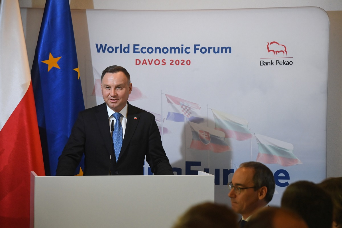 Polish President Andrzej Duda addresses a meeting of business leaders at the World Economic Forum in Davos, Switzerland, on Tuesday.