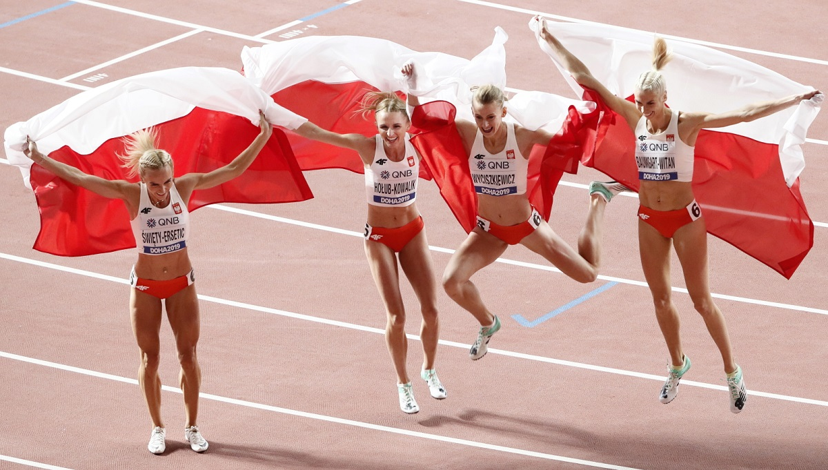 Polish team members celebrate after taking second place in the womens 4x400 metres relay final during the 2019 IAAF World Athletics Championships at Khalifa Stadium in Doha, Qatar, on Sunday.