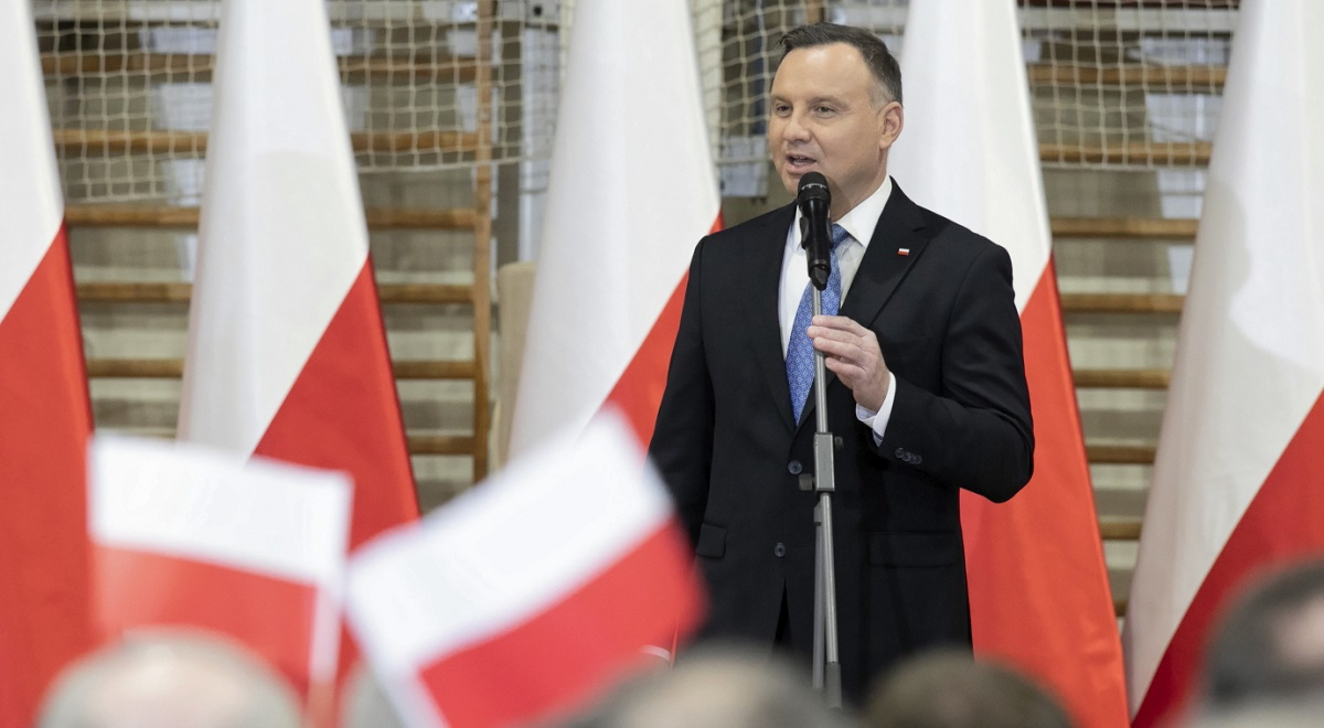 President Andrzej Duda speaks during a visit to Lubartów, eastern Poland, on Wednesday.