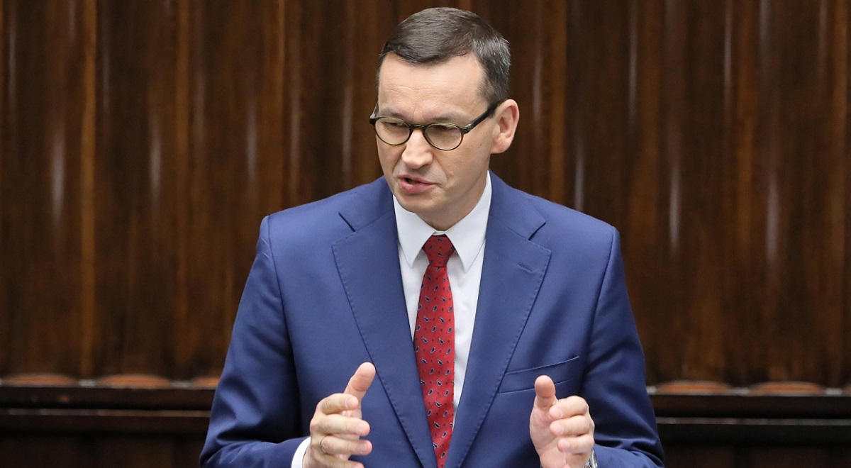 Polish Prime Minister Mateusz Morawiecki speaks in parliament in Warsaw on Wednesday, July 22, 2020.