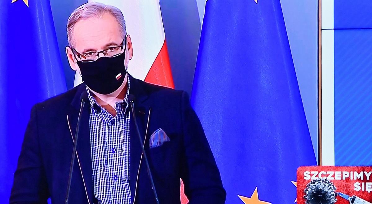 Poland's Health Minister Adam Niedzielski, seen on a screen during a virtual media briefing this week.