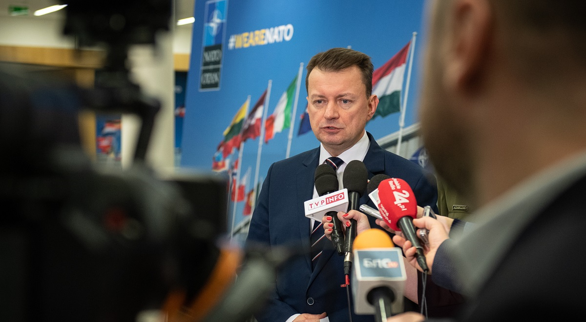Polish Defence Minister Mariusz Błaszczak talks to reporters at NATO headquarters in Brussels, Belgium, on Wednesday.