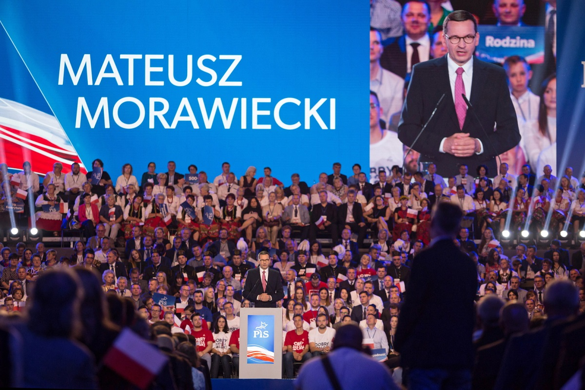 Polish Prime Minister Mateusz Morawiecki speaks at a convention of his governing Law and Justice (PiS) party in the eastern city of Lublin on Saturday.