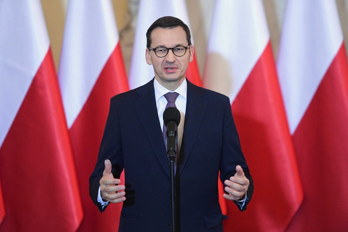 Prime Minister Mateusz Morawiecki speaks at a meeting with Polish Volleyball Federation officials in Warsaw on Wednesday.