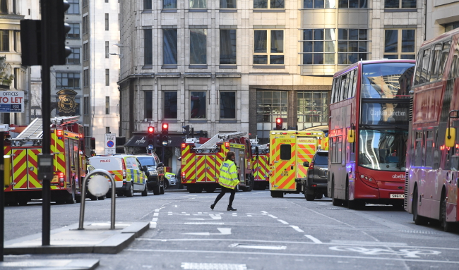 Police at the scene of an incident at London Bridge in London, UK, November 29.