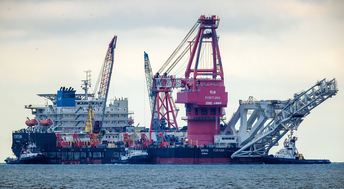 The Russian pipe-laying ship Fortuna seen in the German port of Wismar this month. The special vessel is being used for construction work on the contested Russian-German Nord Stream 2 gas pipeline in the Baltic Sea.