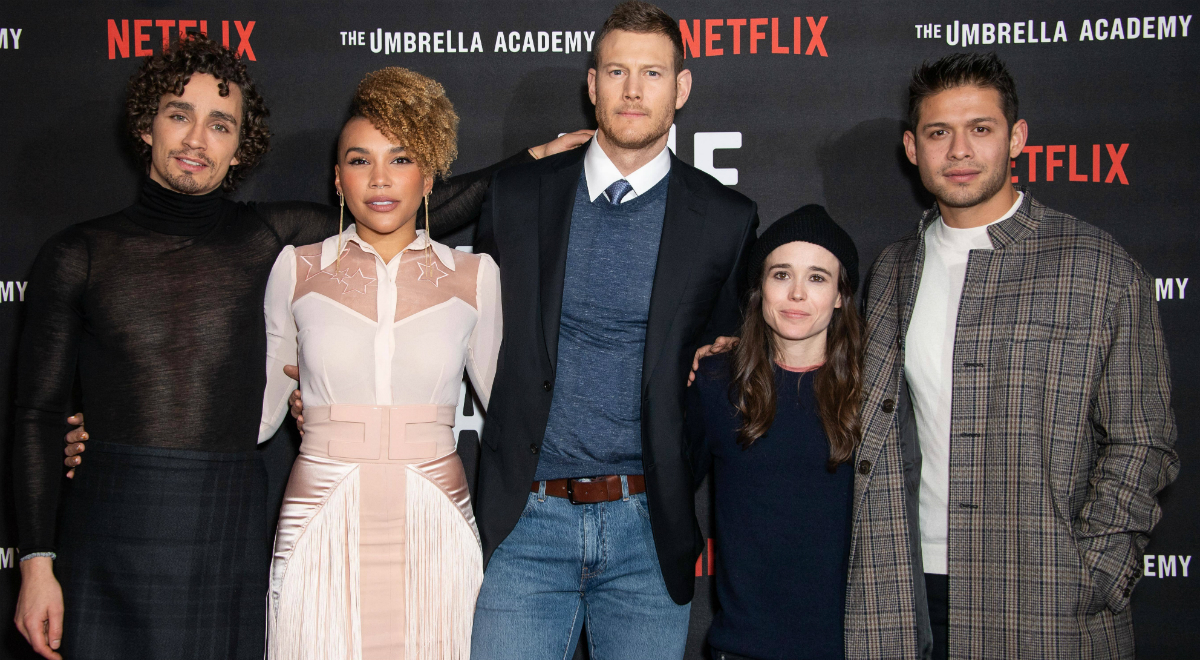 Robert Sheehan, Emmy Raver-Lampman, Tom Hopper, Ellen Page i David Castaneda na premierze The Umbrella Academy