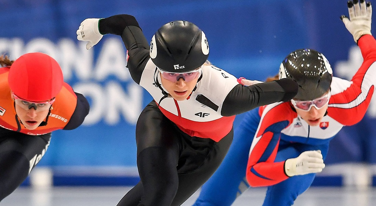 Top Polish short-track speed skater Natalia Maliszewska in action during the 2020 European Short Track Speed Skating Championships in Debrecen, Hungary.