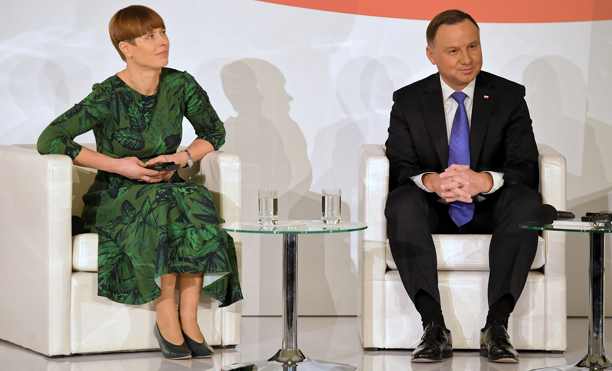 Polish President Andrzej Duda (right) and his Estonian counterpart Kersti Kaljulaid (left) during a meeting in Warsaw in December last year.