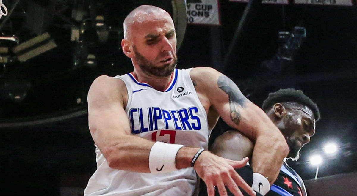 Marcin Gortat z Los Angeles Clippers w meczu ligi NBA