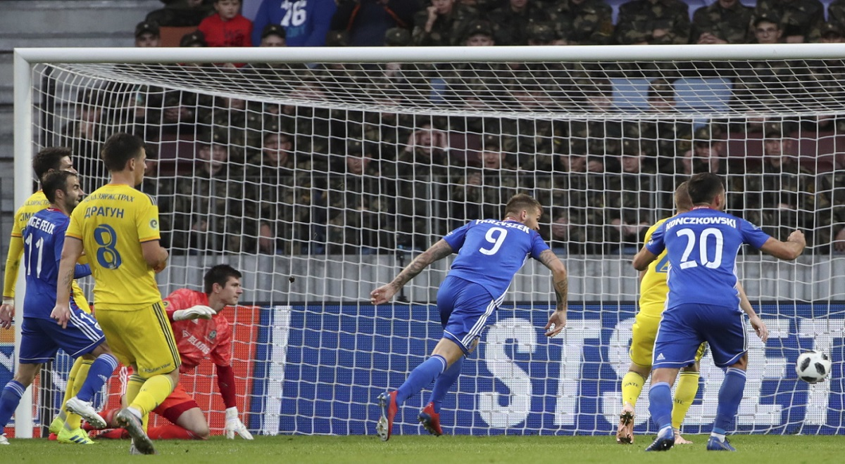 Piotr Parzyszek (centre) puts Piast Gliwice 1-0 ahead against BATE Borisov on Wednesday.