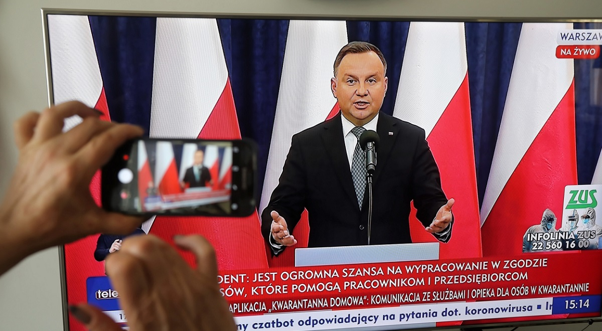 President Andrzej Duda briefs reporters remotely after a National Security Council teleconference on Monday.