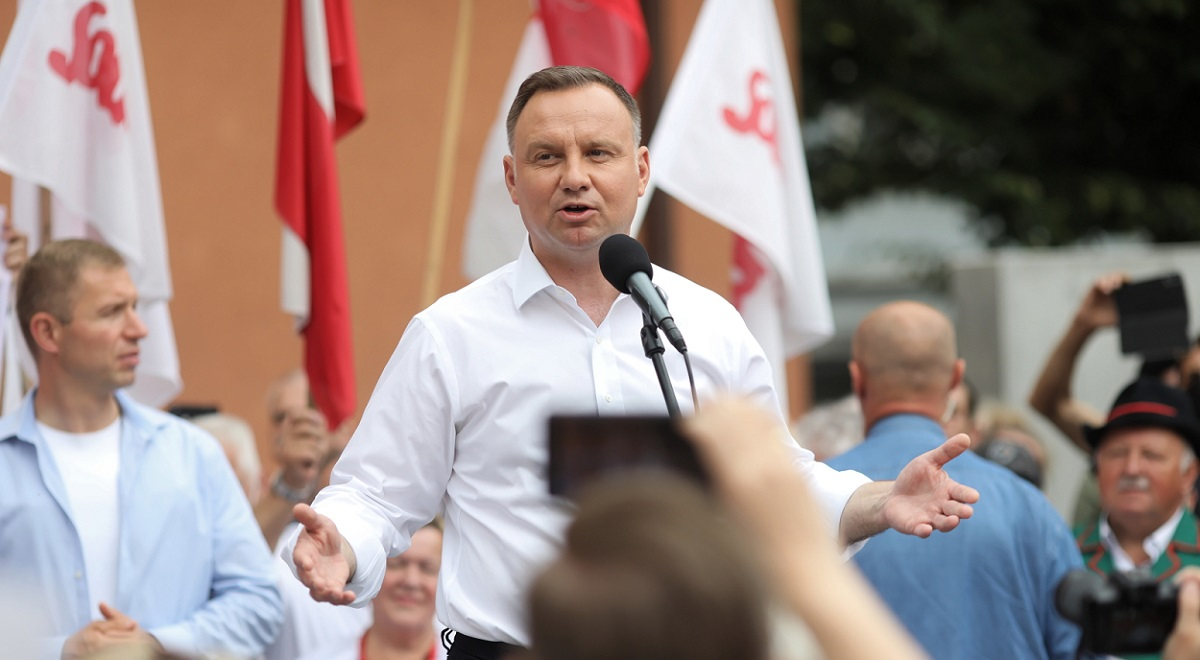 Poland's incumbent President Andrzej Duda addresses a re-election rally on Monday.