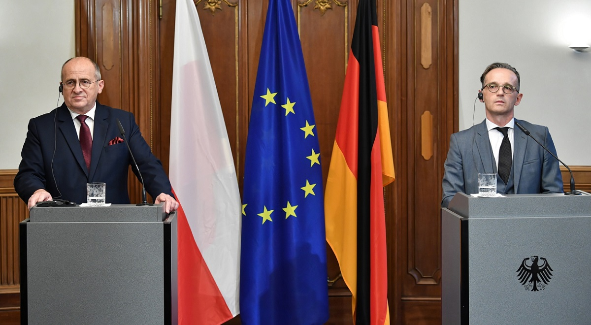 Polish Foreign Minister Zbigniew Rau and his German counterpart Heiko Maas meet in Berlin on Thursday, Oct. 15, 2020.