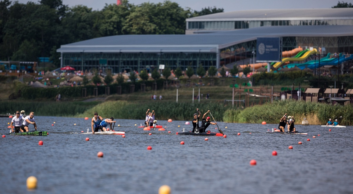 The Lake Malta Regatta Course in the western Polish city of Poznań, where the 2020 European Rowing Championships are due to be held from October 9 to 11. This photo shows Polish canoeists in action at the venue during the national championships on Saturday, Aug. 15, 2020.