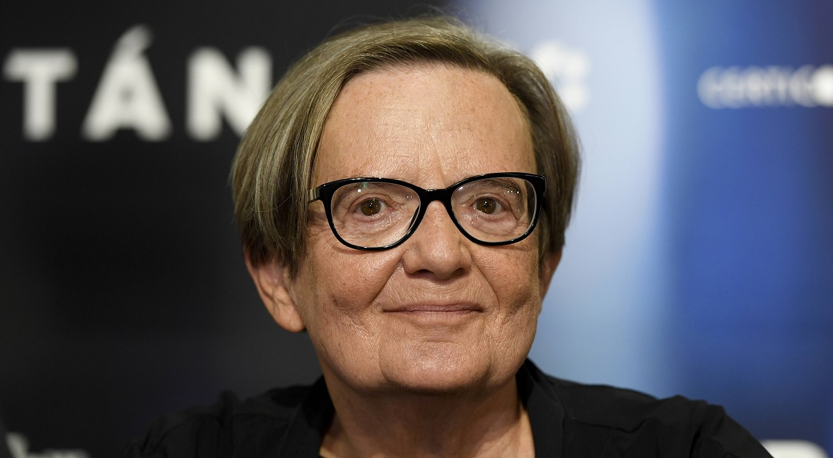 Polish director Agnieszka Holland smiles during the press conference after the screening of her latest film Charlatan in Prague, Czech Republic, August 17, 2020.