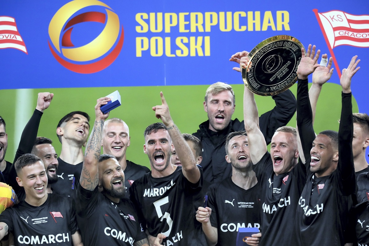 Cracovia players celebrate winning the Polish Super Cup on Friday night.