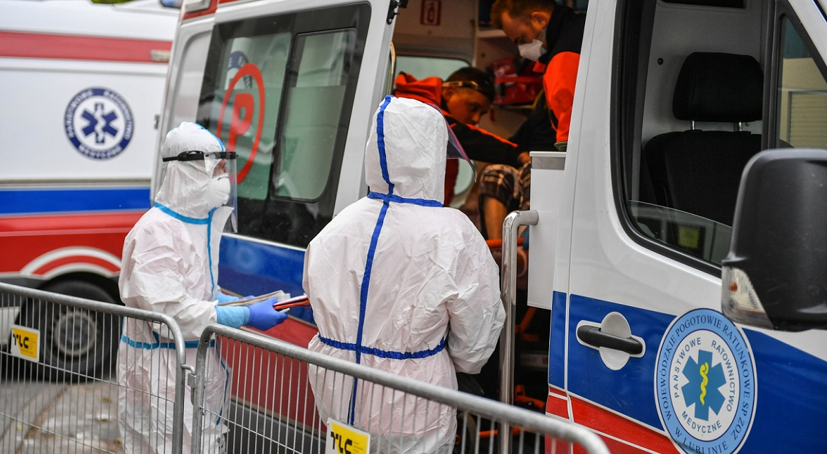 Paramedics at work amid a coronavirus outbreak in the eastern Polish city of Lublin, Oct. 22, 2020.